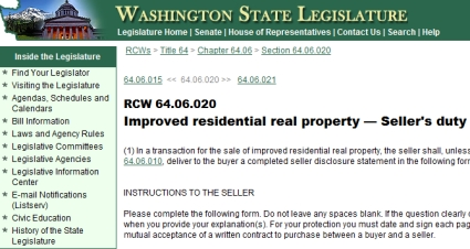 Washington Seller Disclosure Statement