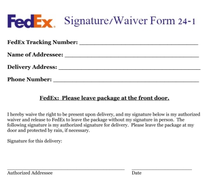 letter authorizing package release fedex signature waiver 17823 | FedEx Signature Waiver