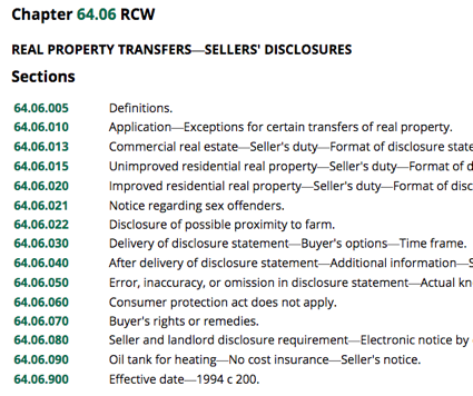 Seller Disclosure Law